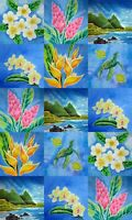 Hawaiian Fabric Wholecloth Quilt Panel Top Tropical Flowers Turtle Beach Kauai