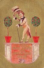 New Year~Dandy Man Dancer Tips Top Hat~Platform~Gold Back~Embossed~1908 PC