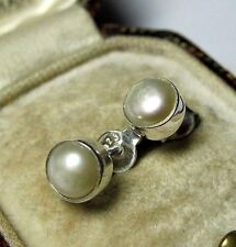 New Solid Sterling Silver Natural Real Pearl Celtic Stud Jewellery EARRINGS