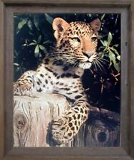 Leopard (Panther, Jaguar, Big Cat) Wild Animal Barnwood Framed Wall Decor 19x23