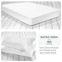 Racing Green 100% Cotton Fitted Bed Sheets & Pillowcases - Plain White