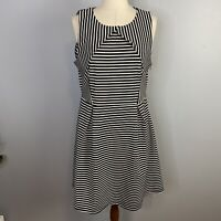 Portmans Womens Size 14 Fit And Flare Sleeveless Black And White Stripped Dress