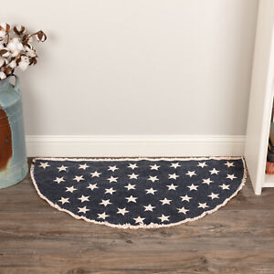 """VHC Brands Americana 33""""x16.5"""" Accent Rug Blue Distressed Appearance Floor Decor"""