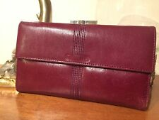Vintage Rare Christian Dior Oxblood Red Calfskin Wallet Checkbook Made In Spain