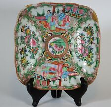 Antique Chinese Rose Medallion Porcelain Serving Dish with Rounded Corners
