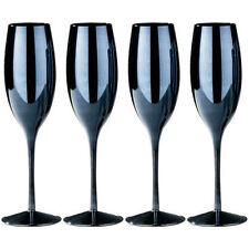 Premier Housewares Set of 4 Champagne Drinking Glasses Black Coloured Lustre