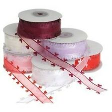 Heart Edge Organza Ribbon 25mm With CGCH25 Sample Lenths to Full Reels