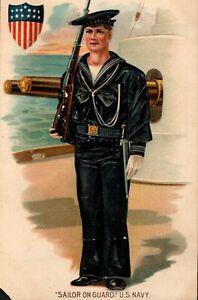 WWI U S Navy Sailor on Guard,Rifle,Embossed Postcard