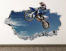 Motocross Wall Decal Art Decor 3D Smashed Jumping Poster Kids Room Sticker BL419
