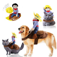 Funny Pet Dog Riding Horse Rodeo Cowboy Costume Puppy Halloween Party Clothes XL
