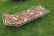 1960's/70's Vintage/Retro Folding Sun-Lounger/Bed. Metal frame with floral print