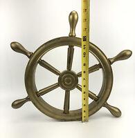 "VINTAGE 16"" SOLID  Brass NAUTICAL SHIP CAPTAINS WHEEL Decor Wall Hanger *READ"