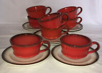 """8 Metlox Poppytrail *PROVINCIAL* RED ROOSTER* 2 1/4"""" CUPS & SAUCERS*"""