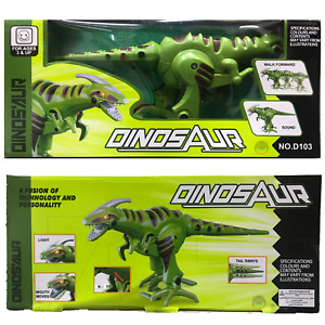 Giant Battery Operated Dinosaur Roar Sound Light & Walking Tail Move XMAS Green