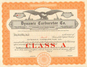 Dynamic Carburetor Company > Class A shares Unissued stock certificate