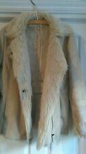 Lakeland faux shearling suede fur beige zip jacket s10