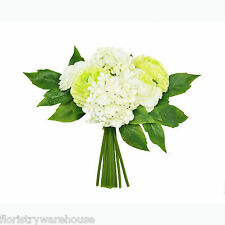 Artificial Ranunculus and Hydrangea Posy 26cm/10 Inches Green Cream 9 Stems