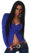 Strickjacke langärmelig Jacke Sweater bunt Basic Cardigan Größe 34 36 38 blau