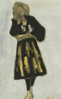 Ben Carrivick - Signed Contemporary Oil, Woman in a Pleated Skirt