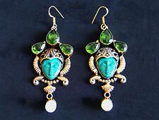 925 Silber - Ohrringe mit geschnitzten Gesicht, Jasper, 24 Karat veredelt, Gold