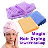 1X Lady Hair Wrap Head Towel Turbie Turban Twist Drying Cap Loop Button Hat