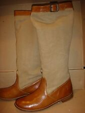 $480* NEW Victoria's Secret FRYE Leather BROWN Canvas size 9 Shoe Boot Knee High