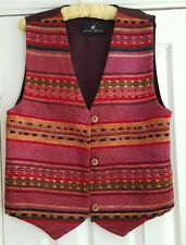 peruvian connection boho textured embroidered waistcoat xl