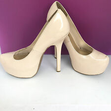 Just Fabulous Womens Leather High Heel Shoes Round Toe Tan Off White Size 8