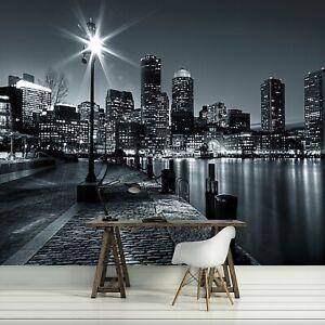 Vlies Fototapete NEW YORK Skyline Nacht Stadt schwarz weiß Wohnzimmer Tapete 2