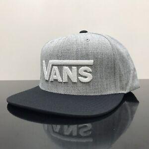 VANS DROP V  SNAPBACK CAP HEATHER GREY BLACK