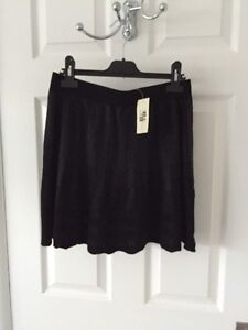 NEW Max Studio Knit Flared Black & Grey Stretch A-Line Skirt RRP £35 Size S & XS