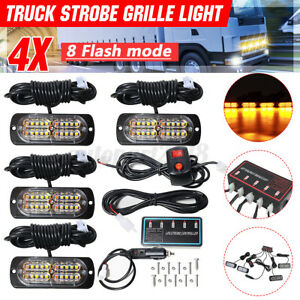 4X 24 LED Strobe Flashing Grille Lights SUV Car Truck Van Beacon Lamps 12V 24V