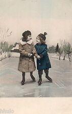 BJ459 Carte Photo vintage card RPPC enfant mode fashion patin à glace patinage