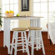 Breakfast Nook Furniture Table Stools 3 Piece Set Wood White Base Rustic Country