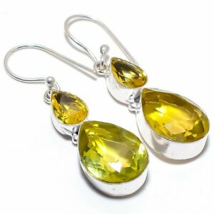 Aaa+++ Citrine Gemstone 925 Sterling Silver Jewelry Earring 2.0""