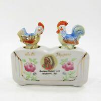 Vintage Salt Pepper Shaker Nodder Set Chicken Rooster Wickliffe KY Souvenir *348