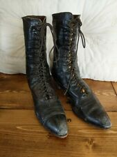 Antique Victorian Women's Black Leather Lace Up Boots Shoes Halloween Witch