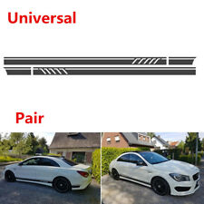 Pair DIY Matte Black Car Body Side Stripes Skirt Decals Vinyl Sticker 220x11.5cm