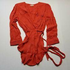 Leifsdottir Anthropologie Womens Top sz 0 Orange Long Sleeve Pleated Tunic H5