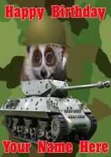 Lento Loris j103 Militar Ejército Tanque Divertido Lindo Personalizado A5 tarjeta de cumpleaños