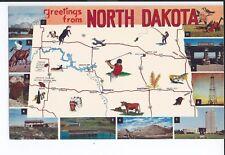 Greetings from North Dakota,i State Map Postcard