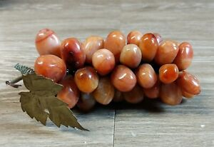 Vintage Cluster of Small Multi-Colored Stone Grapes with Gold Metal Leaf