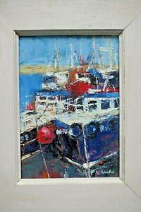 Sylvia Paul (contemporary) Oil On Board. Bridlington Harbour Fishing Boats