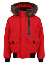SUPERDRY MEN'S EVEREST BOMBER FUR HOODED JACKET IN DEEP BERRY, BNWT, RRP £130
