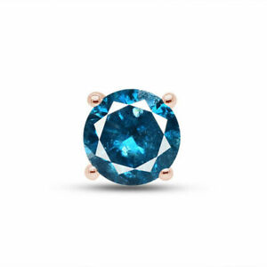 Men's Single Stud Earring 10K Gold Blue Solitaire Round Cut Simulated Diamond