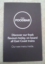 EAST COAST TRAINS FOOD BAR MENU Railways Dining Restaurant British Rail BR ECML