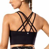 CRZ YOGA Strappy Sports Bras for Women Longline Wirefree, Black, Size Small QbcZ