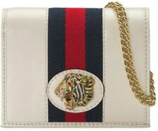 NEW GUCCI WHITE VINTAGE LEATHER WEB RAJAH CHAIN CARD CASE WALLET