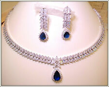 18K GOLD HIGH QUALITY LADY' BLUE SAPPHIRE NECKLACE EARRING SET BRIDAL,COCKTAIL