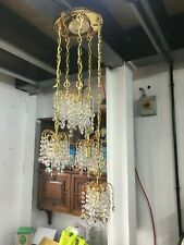 Ceiling Light With 5 Chandelier Drops With Crystal Droplets